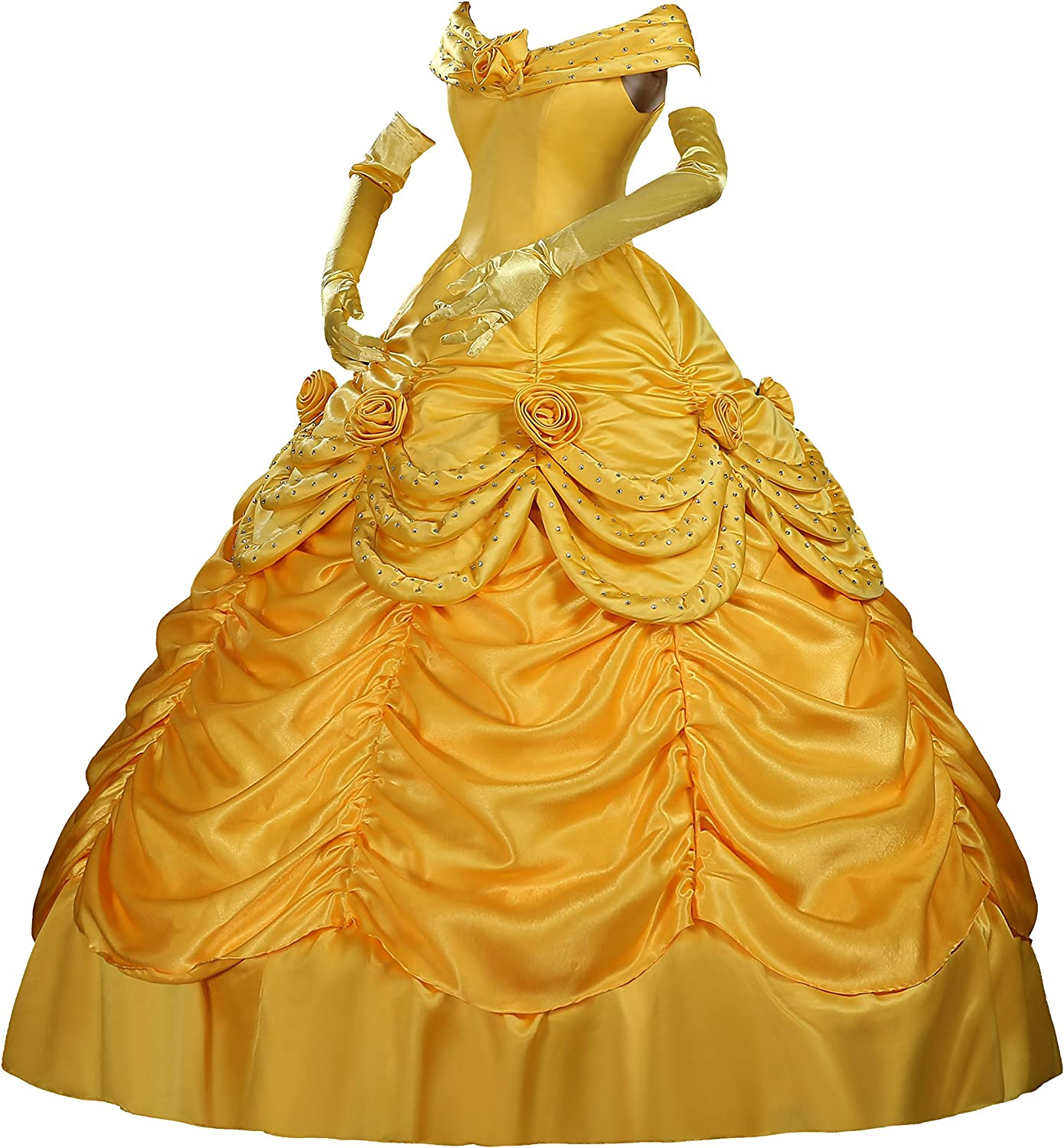 Belle Cosplay Costume Adult Beauty and The Beast Princess Fancy Dress Halloween+