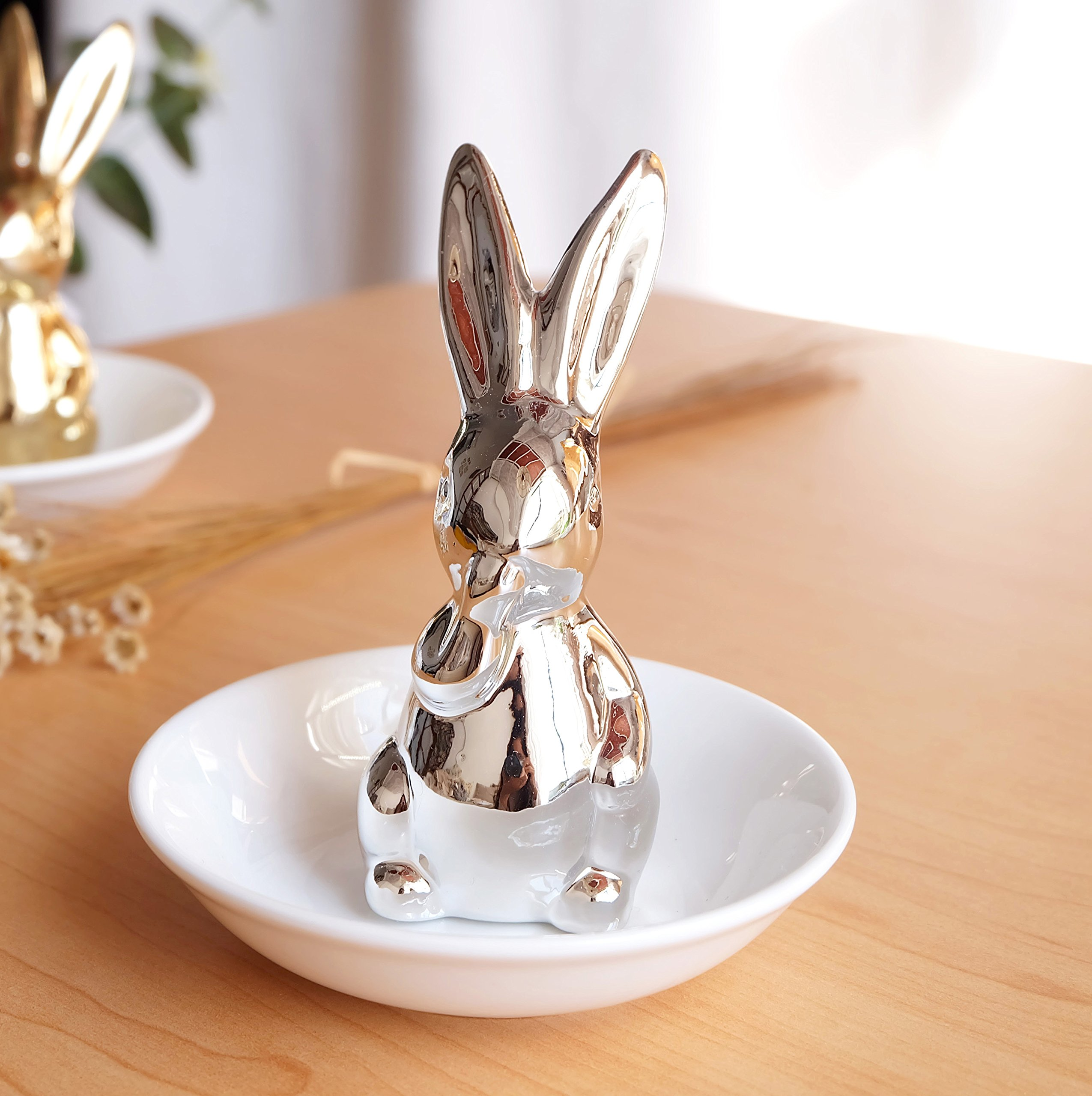 Sliver Eat Hand Bunny Rabbit Ring Dish Holder Jewelry Tray Display Storage Case Organizer