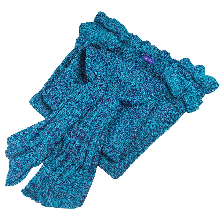Berinfly Girls Crochet Mermaid Tail Blanket Knitting Handcraft for Kids, All Seasons Sleeping Bag Blanket(55.1''x 27.6'') (Lake Blue)