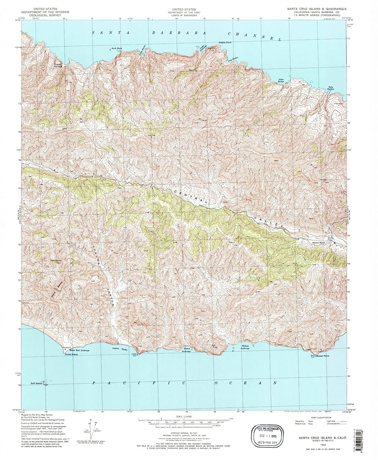 Santa Cruz California Map.California Maps 1943 Santa Cruz Island B Ca Usgs Historical
