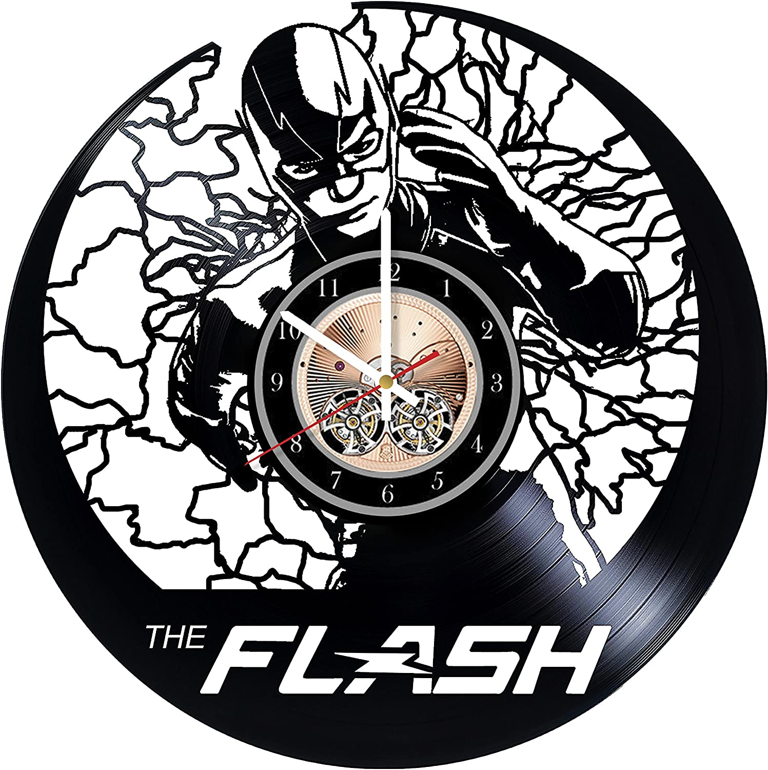Wood Workshop Flash Marvel Comics Vinyl Record Wall Clock - Get Unique Bedroom or Living Room Wall Decor - Gift Ideas for him and her