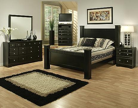 5 Piece Bedroom Set Queen. Sandberg Furniture Elena 5 Piece Bedroom Set  Queen Black Amazon com