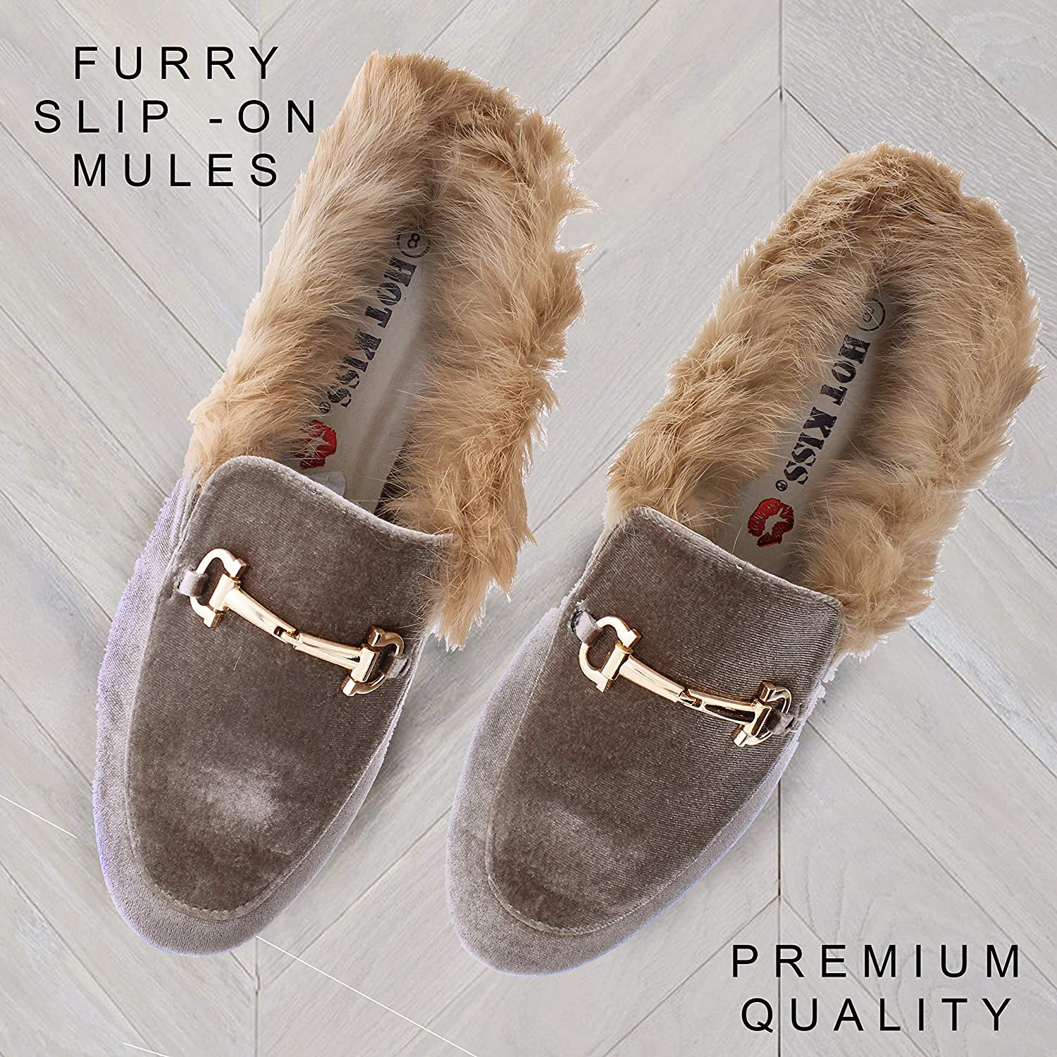 a92ed69c750e3 Hot Kiss Womens Horsebit Loafers Mules Shoes,Faux Fur Mule Slippers for  Women