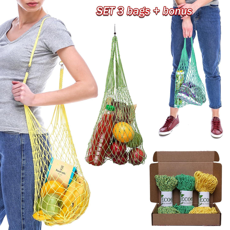 ecoggのセットハンドメイド有機Grocery文字列バッグコットンメッシュバッグin 8カラーバリエーションwithフックforショッピングビーチスポーツ B01MYGT01G Green, Green and Yellow, Yellow Green, Green and Yellow, Yellow