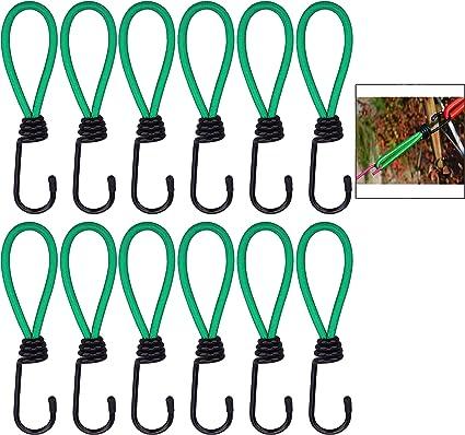 iwobi 12 pezzi Gancio Expander,Tenditori Elastici con Ganci a Spirale per Appendere Poster Pubblicitari e Fissare Teli in PVC,Campeggio allaperto