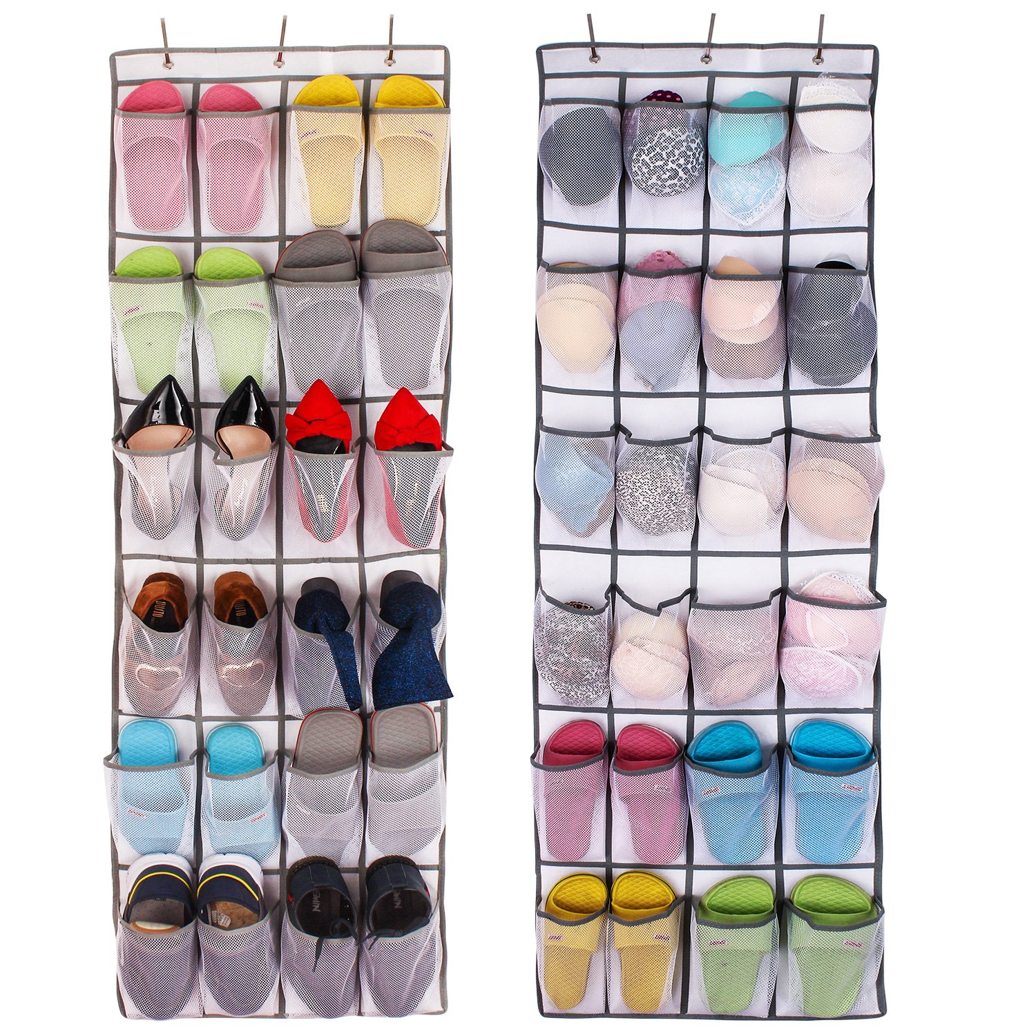 Colleer Shoe Organizer Over the Door 24 -Pocket Hanging Shoe Rack Door Shelf Hanger Holder Storage Bag JJSN0012BL