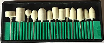"""TOOLSCENTRE 13 x 1/8"""" Shank Wool Felt Polishing Buffing Wheels Bits Set for Dremel & other Rotary Tools Power Tool Accessories at amazon"""