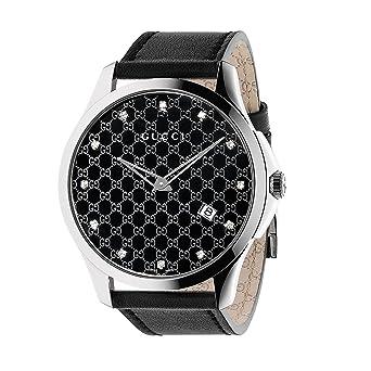 4d5eb817e51 Gucci G-Timeless Black Monogram Dial SS Leather Quartz Ladies Watch YA126305