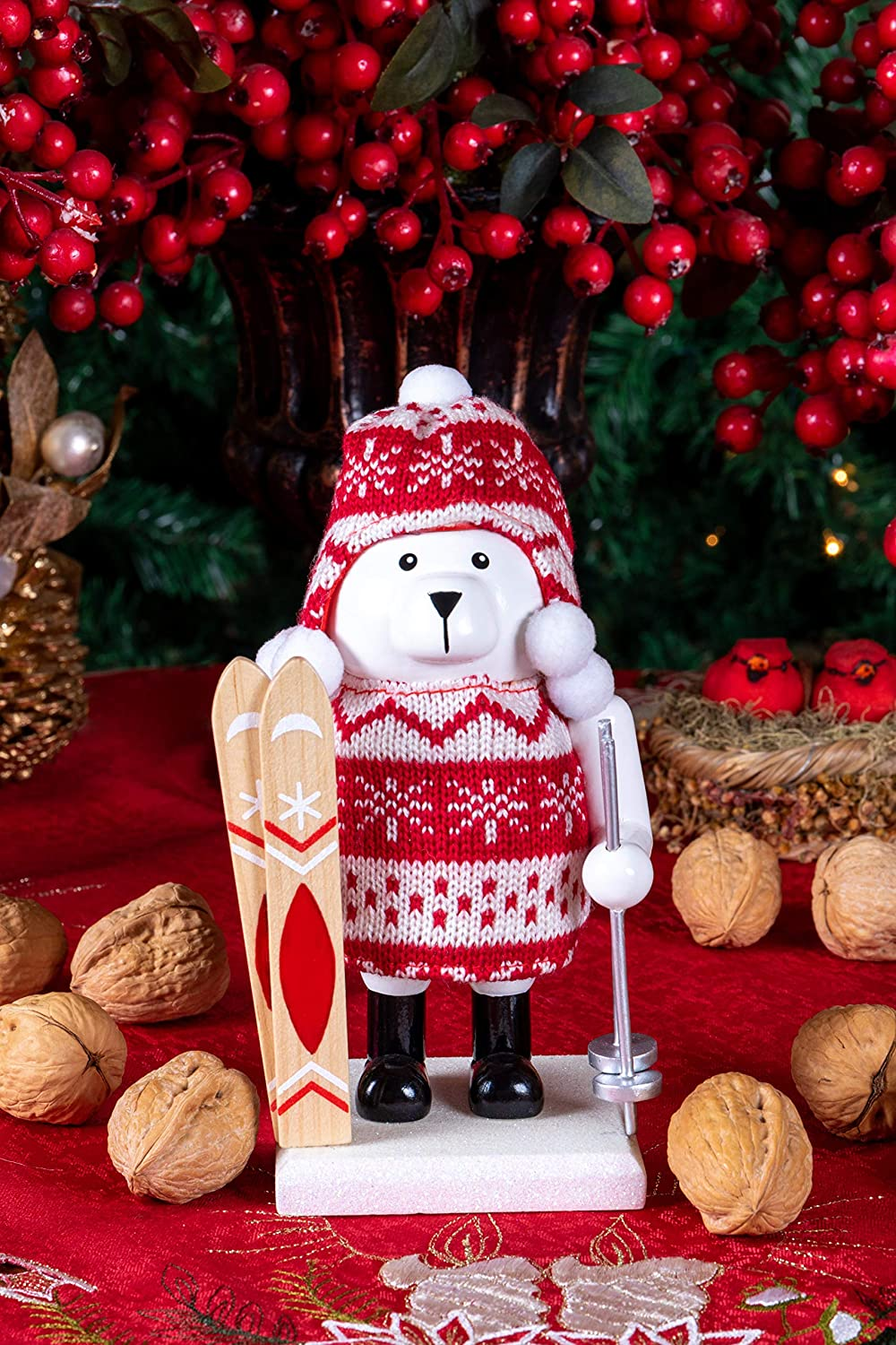 Clever Creations Wooden Chubby Polar Bear Skiier Traditional Nutcracker   Festive Red and White Knit Hat and Sweater Outfit   Festive Christmas Decor   Stands 7.5