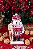 Clever Creations Wooden Chubby Polar Bear Skiier