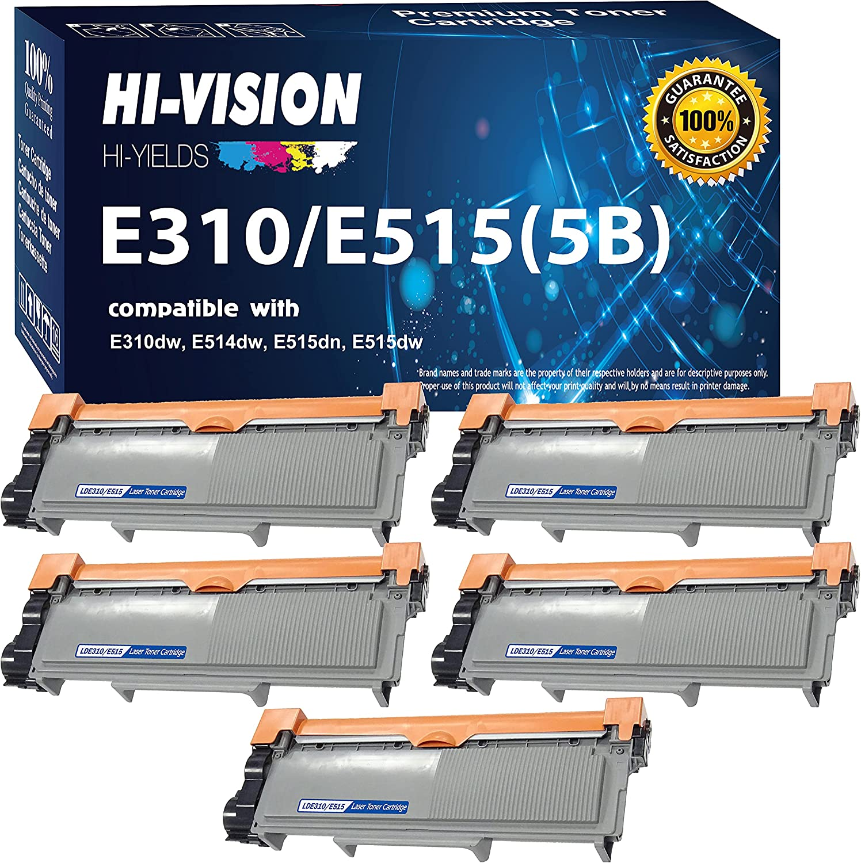Hi-Vision Hi-Yield (5X Black) Compatible E310 E514 E515 High Yield Toner Cartridges Replacement for Dell E310dw E514dw E515dw E515dn Printers