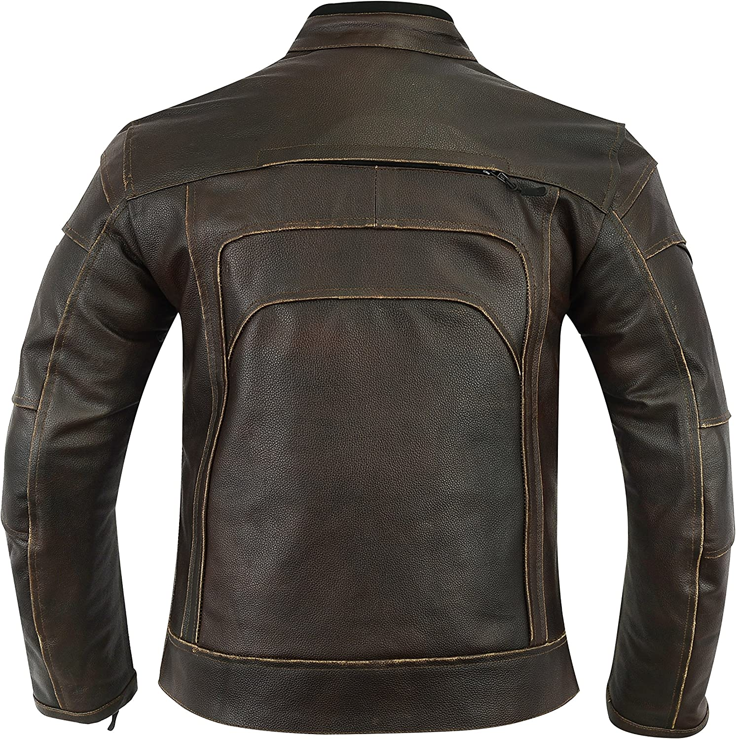 MOTORCYCLE BIKERS ARMORED POWER SPORTS LEATHER MENS JACKET ANTIQUE BROWN RUB OFF TK-1716 S