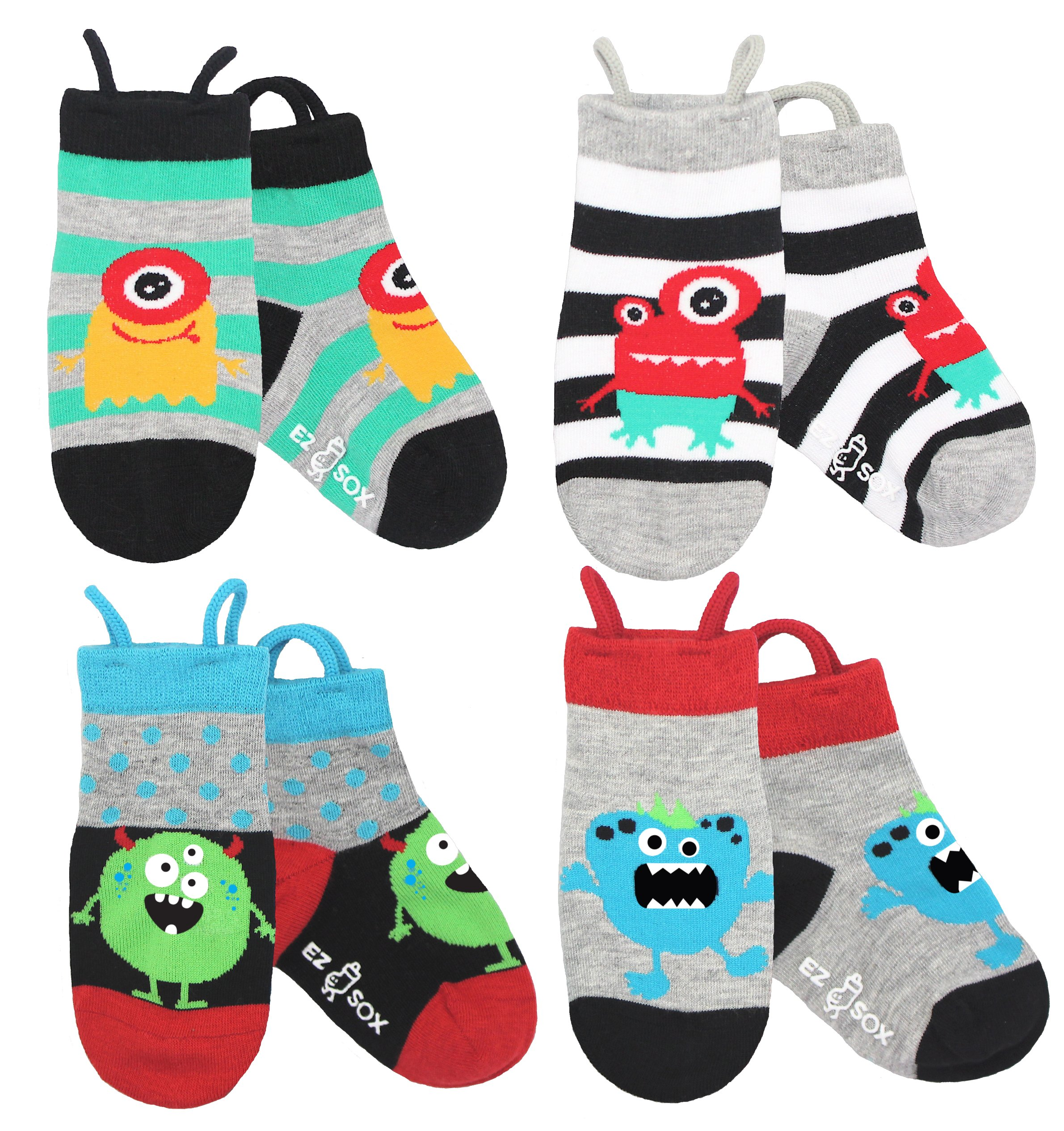 Boys, Girls, Kids, Toddler Socks, Seamless, Non Skid Grips Animal Ez Socks (Medium, Monsters)
