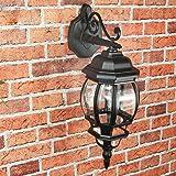 """Rustikale Außenlampe Wandleuchte """"Brest"""" in schwarz / Laternenform / E27 bis 60W IP44 / Außenleuchte Wandlampe für Hof und Garten"""