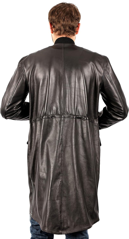 Mens Long Black Nappa Leather Bomber Varsity Jacket at Amazon Mens Clothing store: