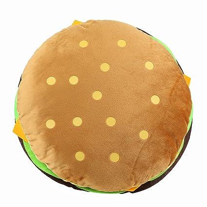 tplay cheeseburger pillow fluffy stuffed hamburger pillow soft burger food plush toy gift for kids halloween