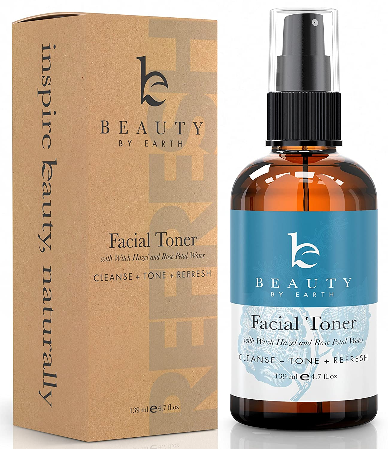Beauty By Earth Facial Toner; Organic & Natural Witch Hazel & Rose Water Astringent; Best Hydrating & Clarifying Face Spray for Daily Use; Alcohol & Oil Free Skin Cleansing for Men & Women