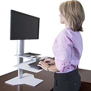 Uprite Ergo Sit2Stand Desktop Height Adjustable Workstation - Single Monitor - Silver/White