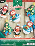 Bucilla Felt Applique Ornament Kit, 4 by 6-Inch, 86671 Trimming The Tree (Set of 6)