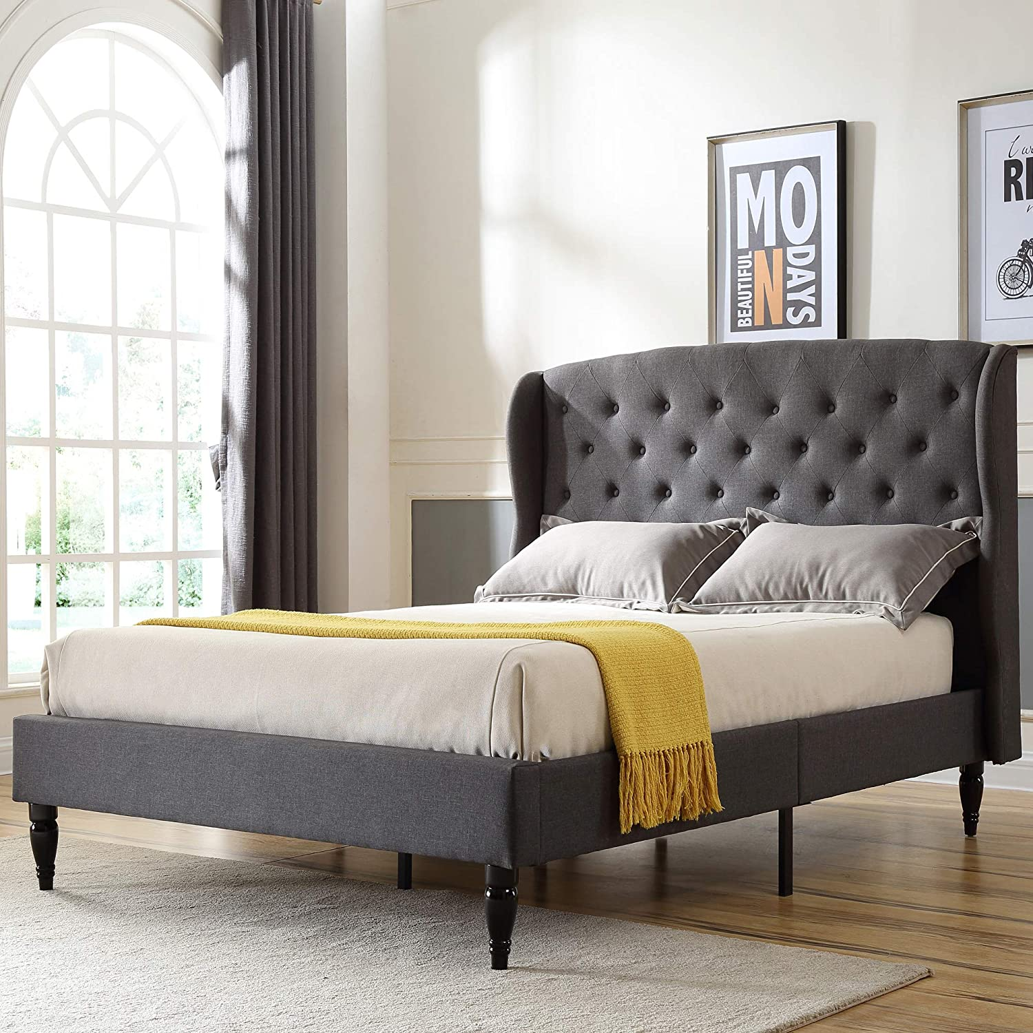 Coventry Upholstered Platform Bed Headboard and Metal Frame with Wood Slat Support Grey, Queen