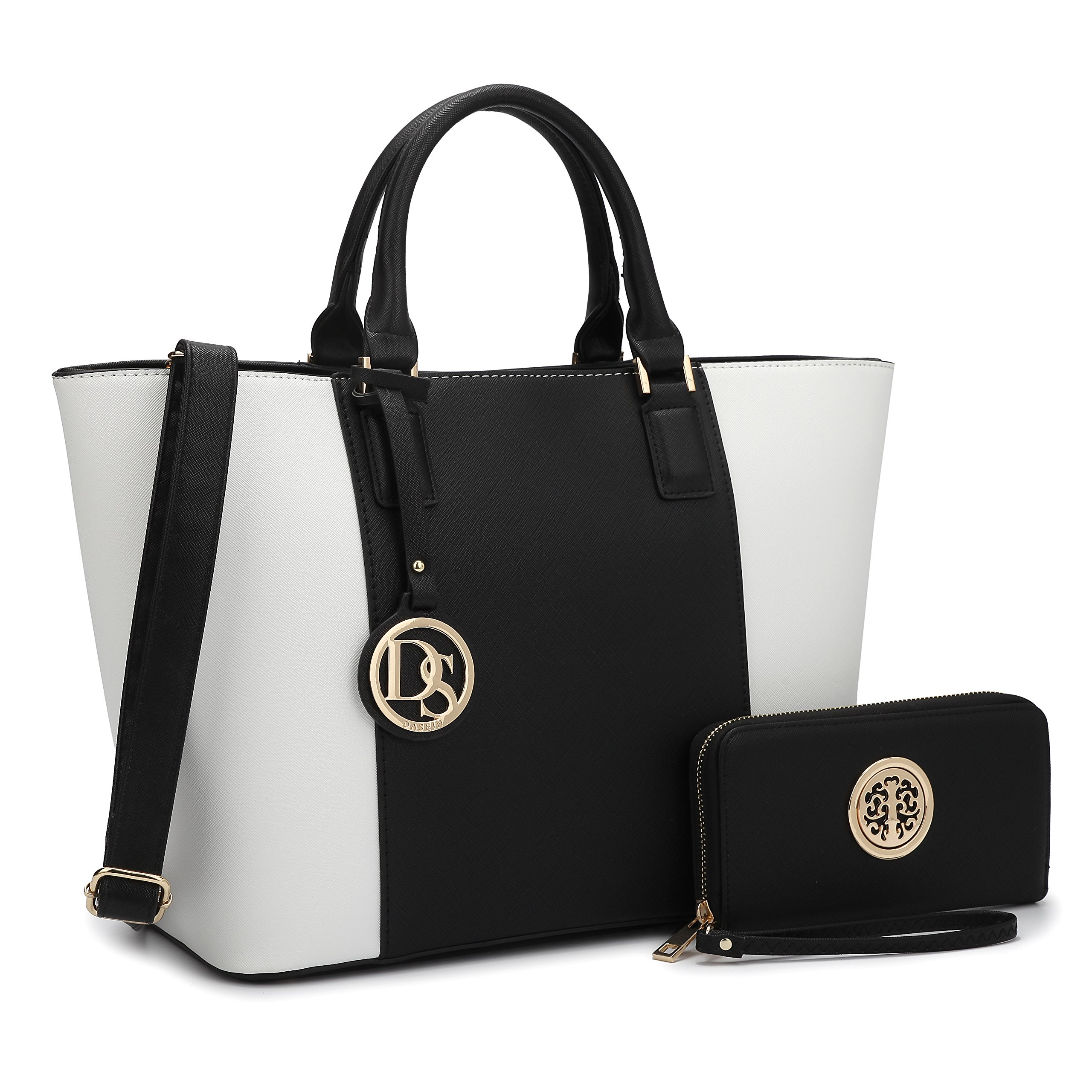 MMK Collection Two tone Designer Handbags for women~ Large Fashion Purses & Handbags~ Beautiful Tote Style(6417) with Free Wallet~Perfect handbag set for Her(6417-Black/White)