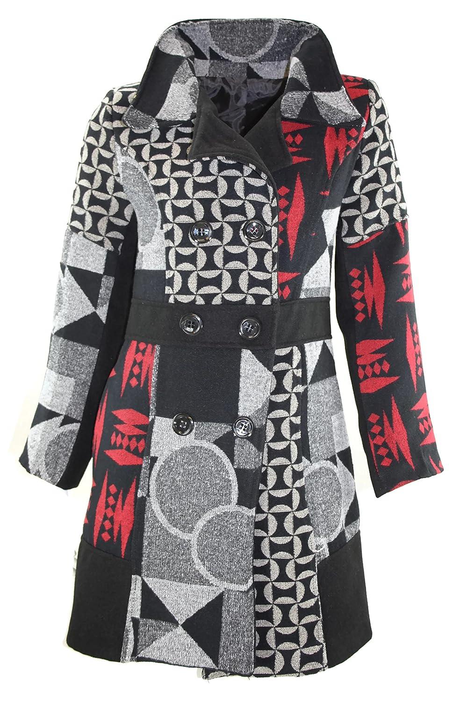 #1165 Damen Designer Patchwork Winter Mantel Trenchcoat Wintermantel 34 36 38 40 42 44