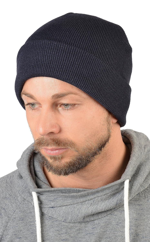 Herren Strickmütze, Wintermütze in navyblau, Skimütze - doppellagig gestrickt