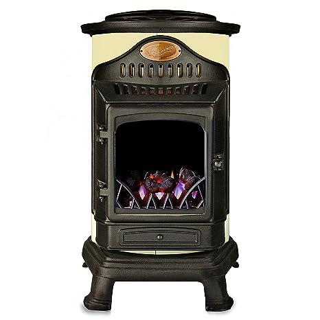 Calefactor de gas efecto estufa de madera 3 kW Provence en color negro y blanco crema