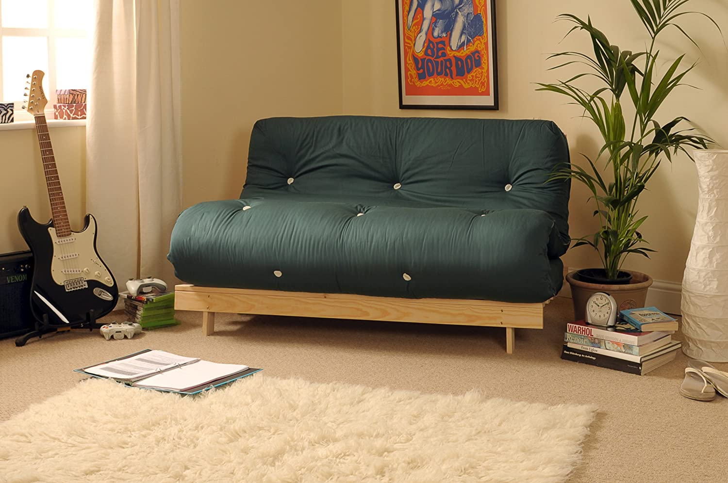 Comfy Living 4ft Small Double 120cm Wooden Futon Set GLADE GREEN Mattress