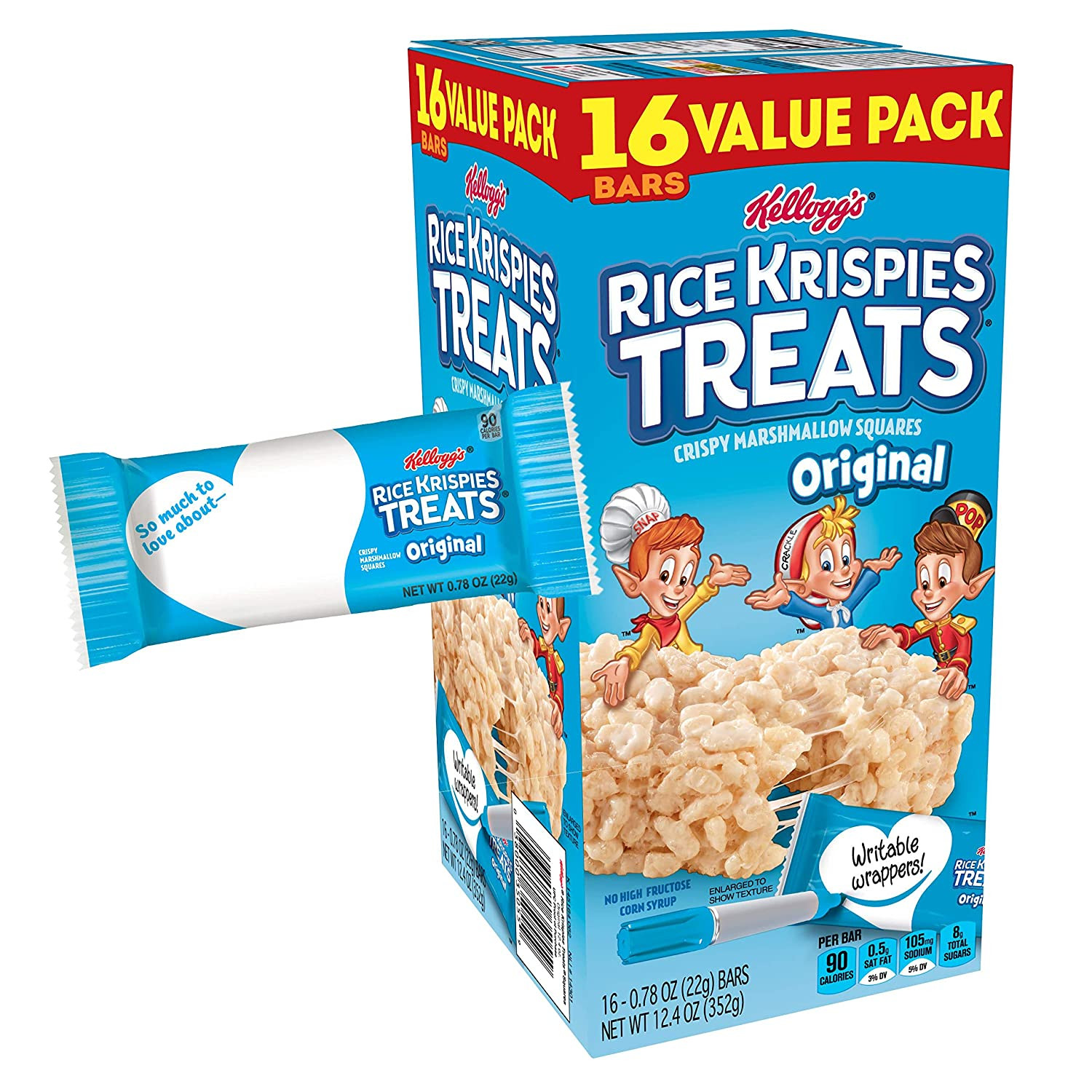 Kellogg\'s Rice Krispies Treats, Crispy Marshmallow Squares, Original ...