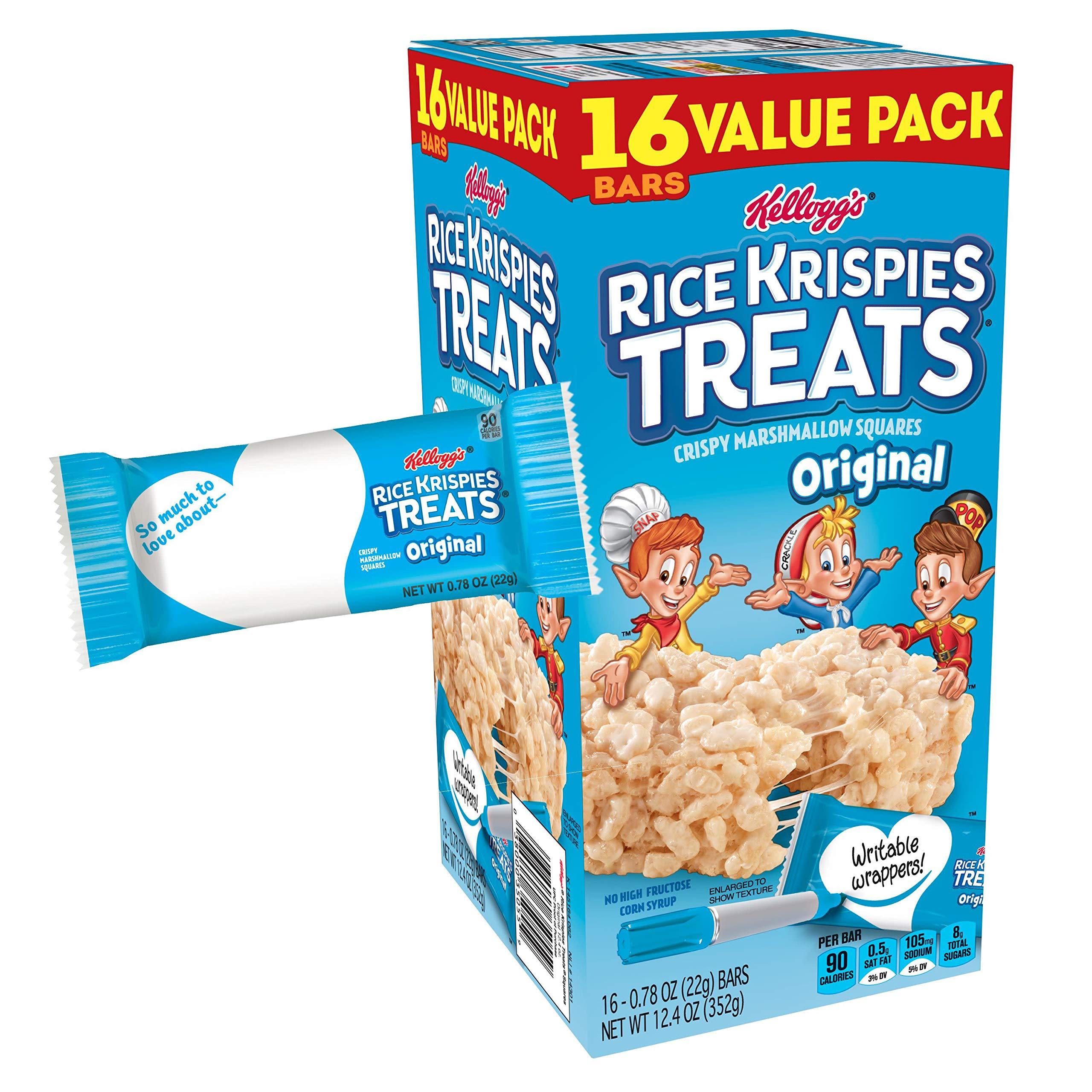 Kellogg's Rice Krispies Treats, Crispy Marshmallow Squares, Original, Value Pack, 0.78 oz Bars(16 Count) by Rice Krispies (Image #4)