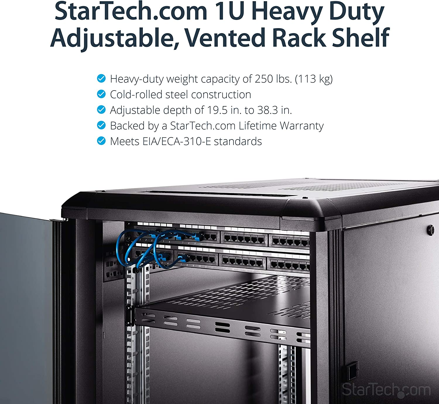 175lbs StarTech.com 1U Adjustable Server Rack Mount Shelf Black Data /& Network Equipment Rack 19.5 to 38in Deep Universal Tray for 19 AV ADJSHELFHD