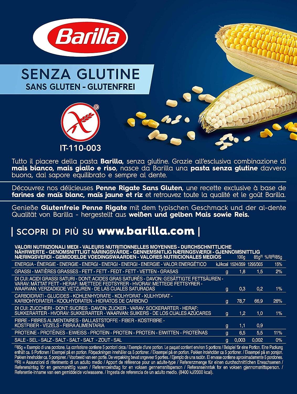 Barilla, Pasta sin gluten, Penne rigate 400gr: Amazon.es: Alimentación y bebidas