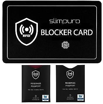 Tarjeta Bloqueo RFID - Inhibidor de Frecuencia – Incluye 2 Fundas Pasaporte RFID y NFC acreditadas