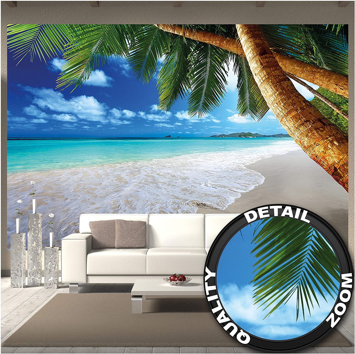 GREAT ART Large Photo Wallpaper Wallpaper – Palm Trees Beach – Decoration Caribbean Bay Tropic Paradise Nature Island Palms Tropical Isle Landscape Image Decor Wall Mural (132.3x93.7in - 336x238cm)