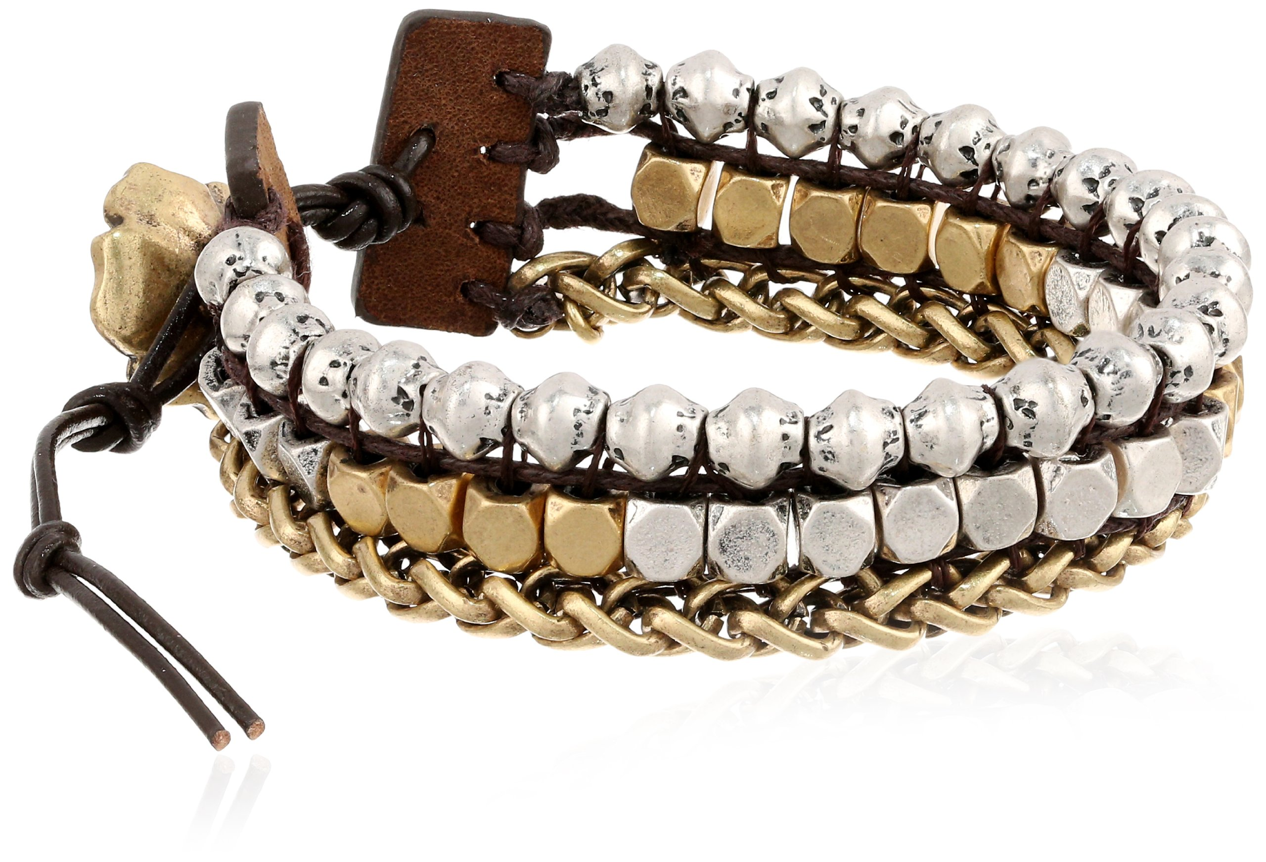 Lucky Brand Royal Jewels Two-Tone Mixed Two-Tone Faux Wrap Bracelet, 7''