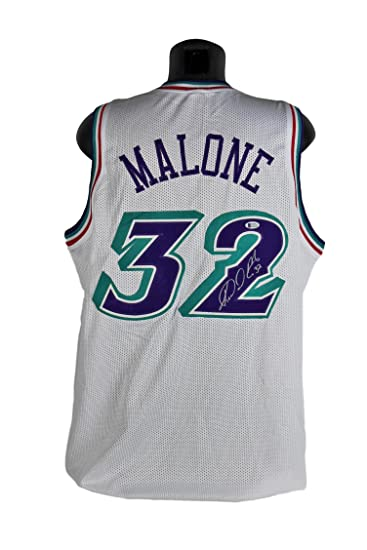 Jazz Karl Malone  quot Mailman quot  Authentic Signed White Jersey ... 0b4eded12f20
