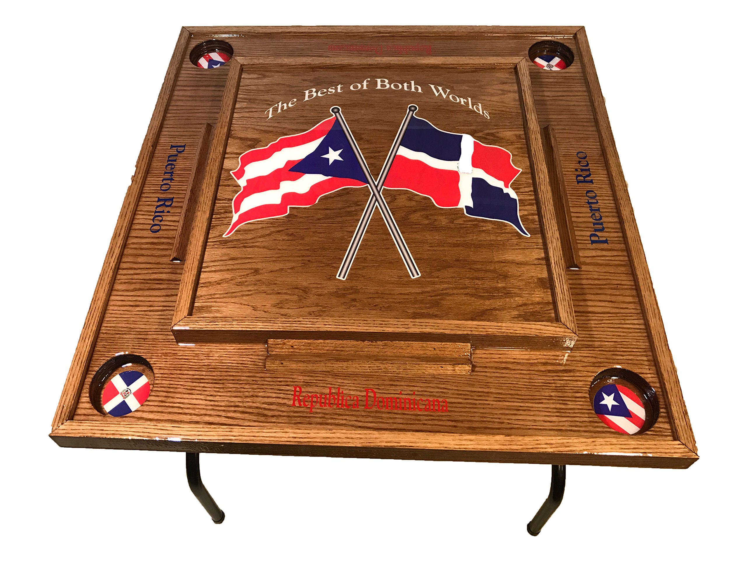 Puerto Rico & Dominican Republic Flag Domino Table -Dark Walnut by latinos r us