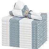 GLAMBURG Cloth Napkin 12-Pack 100% Ring Spun Cotton Dinner Napkin 18x18 with Mitered Corners and a Generous Hem, Cocktail Napkins, Wedding Dinner Napkins, Machine Washable - Navy Blue