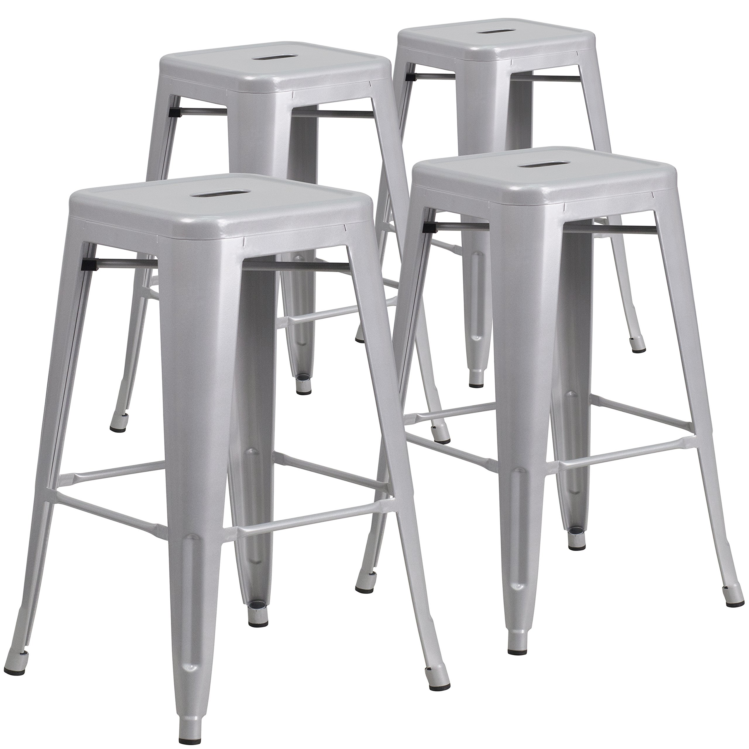 Flash Furniture 4 Pk. 30'' High Backless Silver Metal Indoor-Outdoor Barstool with Square Seat