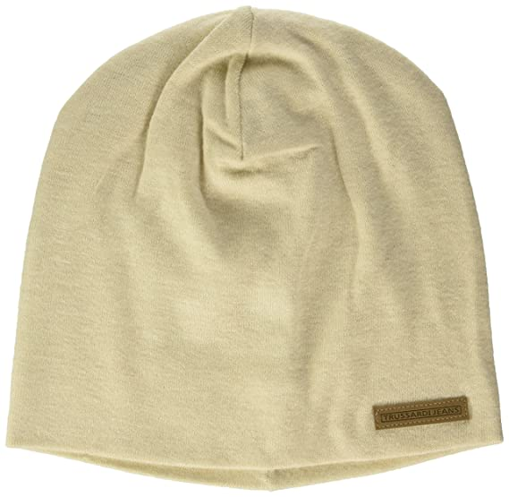 Mens Knitted Label Ecoleather Beanie Trussardi