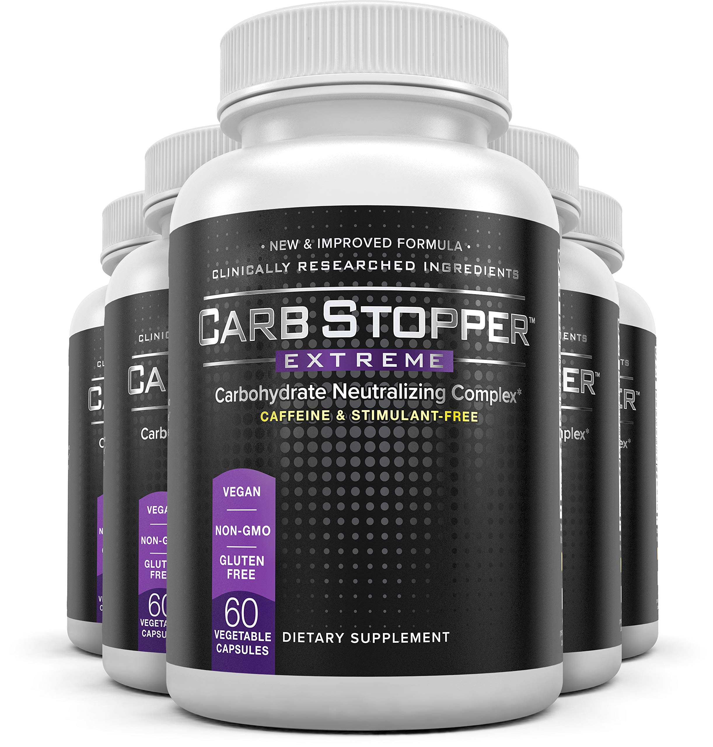 Carb Stopper Extreme (5 Bottles) - Maximum Strength, All-Natural Carbohydrate and Starch Blocker Weight Loss Supplement   Absorb Fat with White Kidney Bean Extract Diet Pills, 60 Capsules Per Bottle by Carb Stopper Extreme
