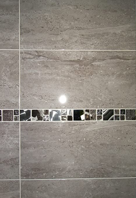 20m2 parallel travertine effect gloss grey bathroom wall tile deal