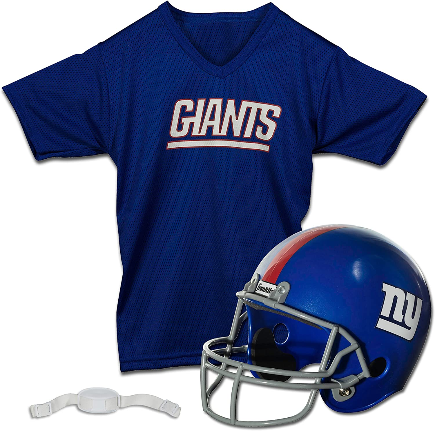 Youth M Franklin Sports New York Giants Kids Football Helmet and Jersey Set Chinstrap NFL Youth Football Uniform Costume Jersey Helmet