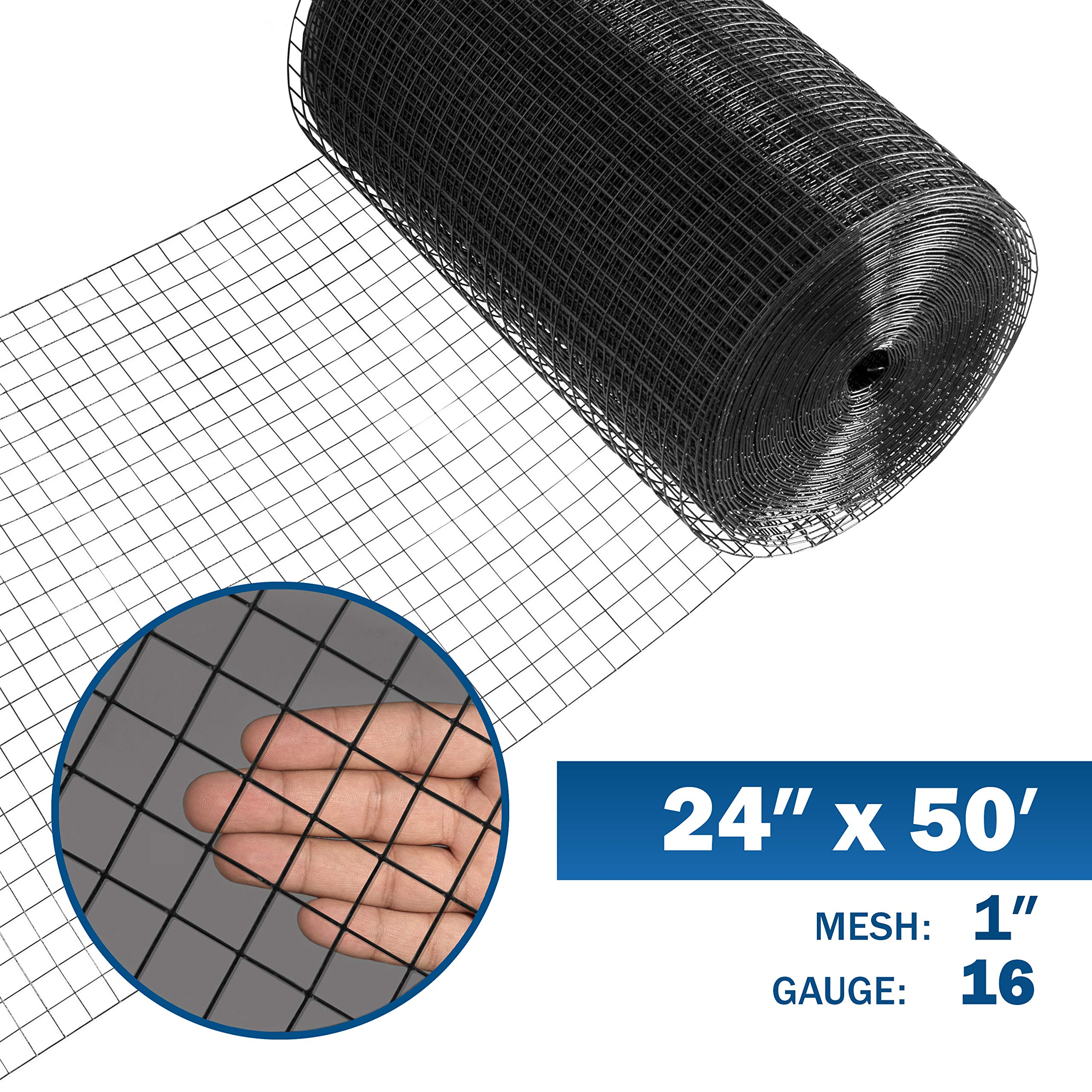 Fencer Wire 16 Gauge Black Vinyl Coated Welded Wire Mesh Size 1 inch by 1 inch (2 ft. x 50 ft.) by Fencer Wire
