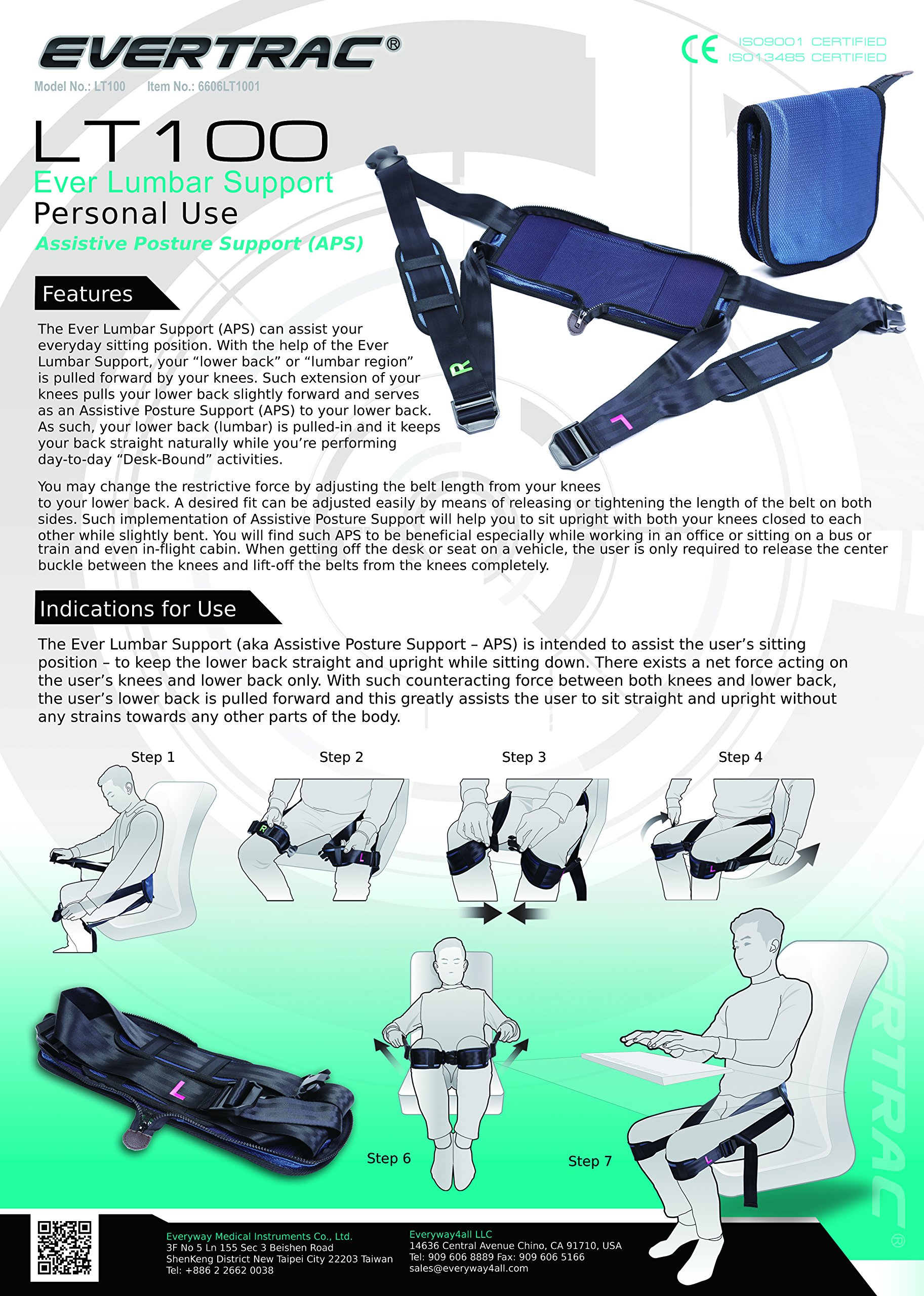 Everyway4all EverTrac Taiwan LT100 Lumbar back support adjustable personal belt by Everyway4all (Image #2)