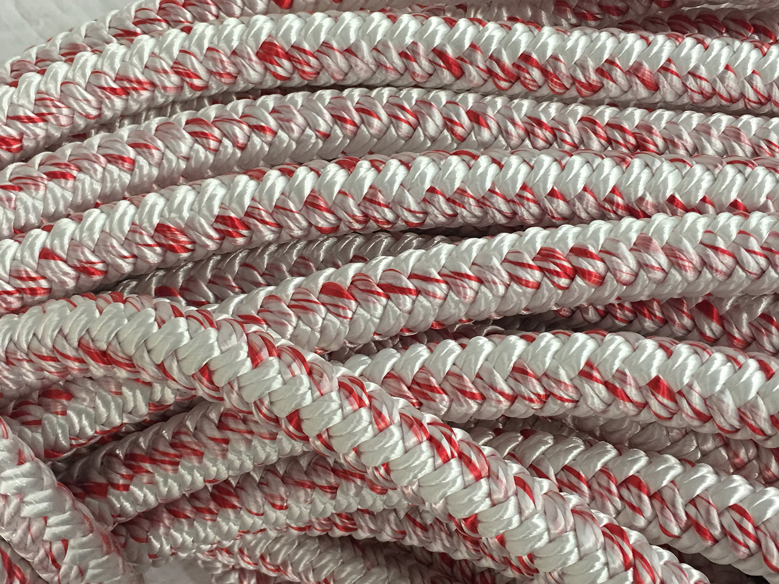 3/4'' X 150', 12 Carrier, 24-strand Arborist Bull Rope, White/Red
