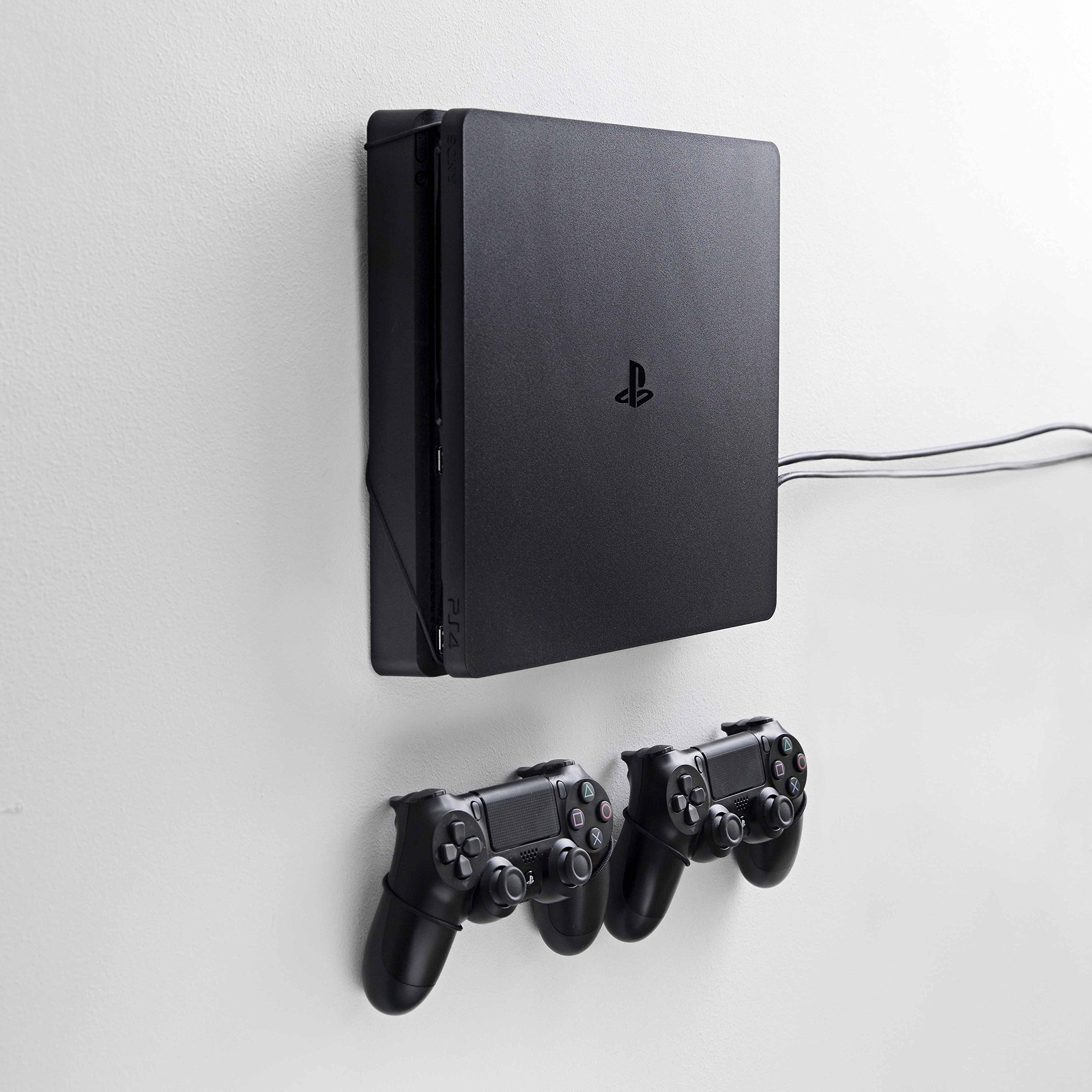 Wall mount for PlayStation 4 Slim (PS4 Slim) by FLOATING GRIP® - Bundle package for console and 2x controllers - Color: Black - Patent pending and proprietary design. by FLOATING GRIP®