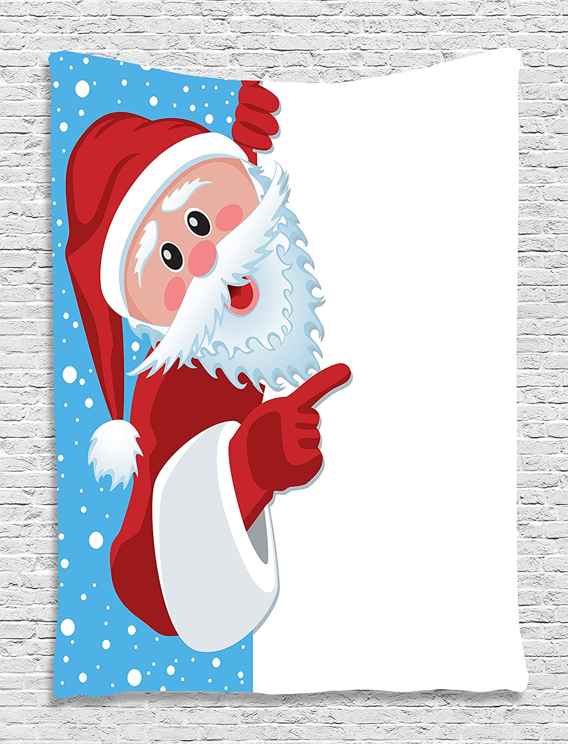 Machine Washable 40 W x 60 L One of a Kind Christmas Santa Claus Sky Snow Holiday Digital Printed Tapestry Wall Hanging Wall Living Room // Bedroom // Dorm Decor Silky Satin Blue Red White