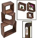 3er Set Lounge Cube Regal Landhaus Stil Wandregal Hängeregal Massivholz in Dunkelbraun